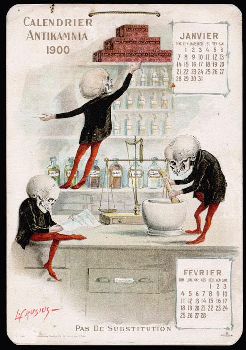 Louis Crusius, mesi gennaio - febbraio del calendario promozionale Antikamnia del 1900