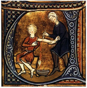Il salasso nell'incipit di un manoscritto del XIII sec