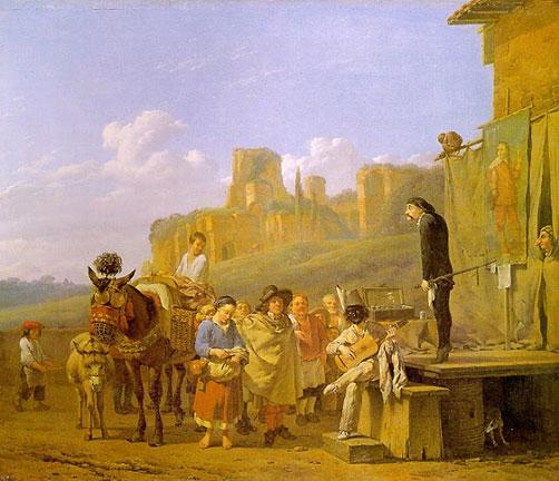 Karel Dujardin (1622-1678), Ciarlatano in paesaggio italiano, olio su tela - Museo del Louvre