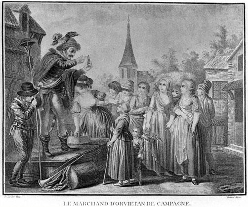 Le Marchand d'Orvietan de campagne, stampa del XIX sec.