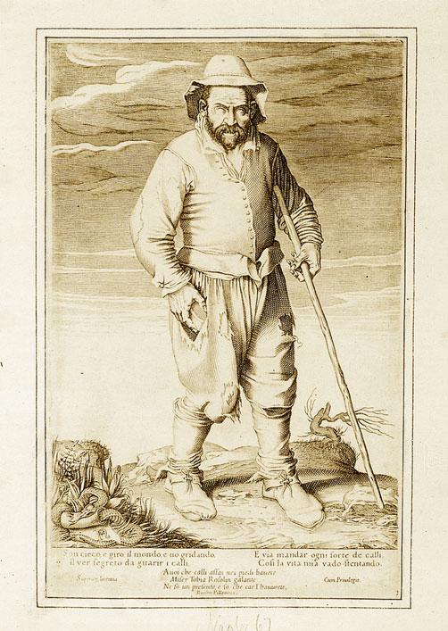 Il callista cieco, incisione di F. Villamena (1522-1624). Il serpente raffigurato in basso a sinistra è distintivo dei cerretani.